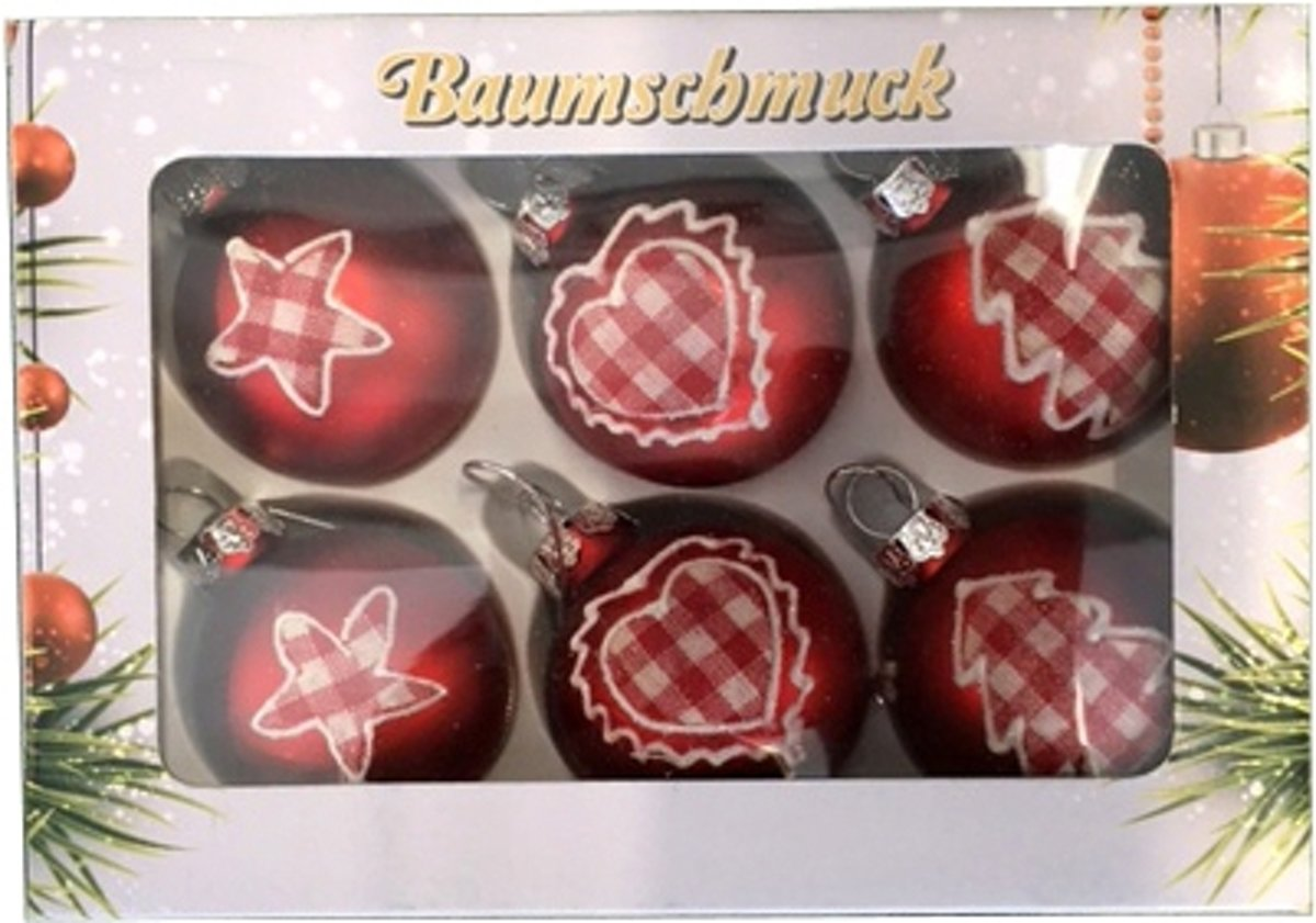 6 rode kerstballen met stoffen opdruk 5 cm kopen