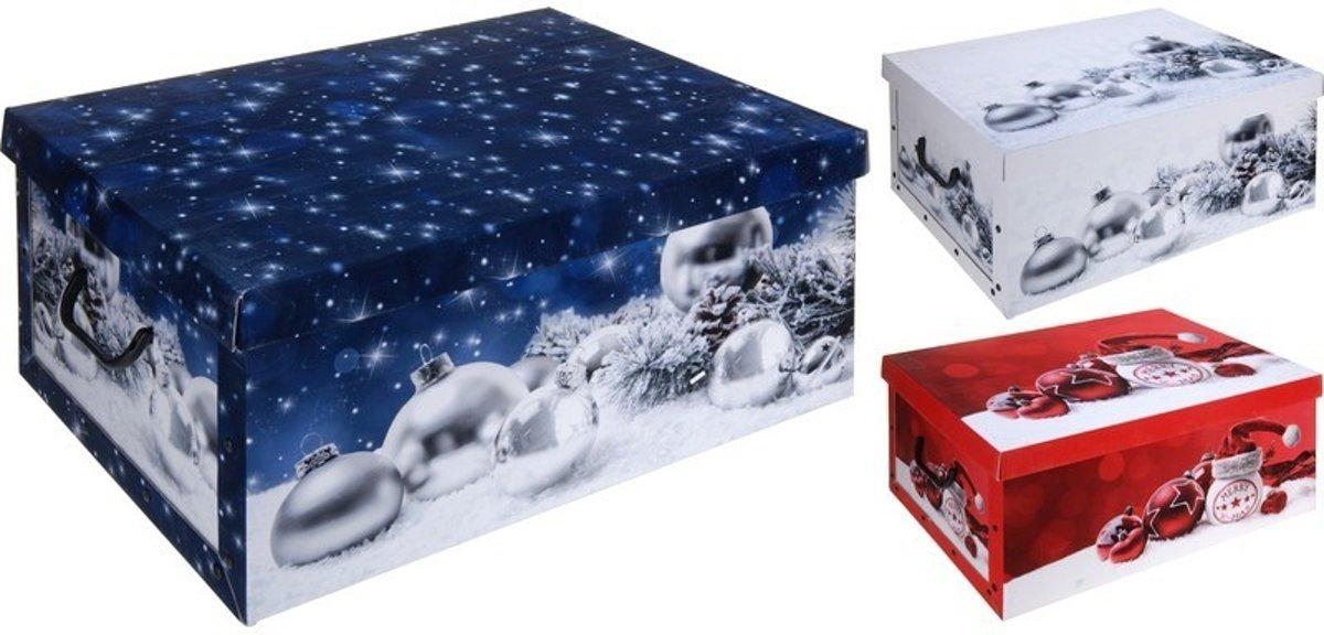 Rode kerstballen/kerstversiering opbergbox 49 cm kopen