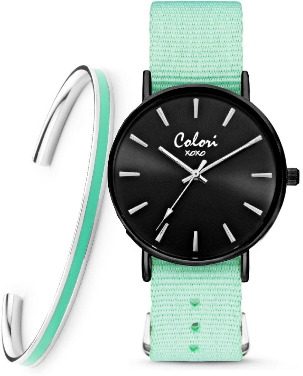 Colori XOXO 5 COL548 Horloge Geschenkset met Armband - Nato Band - Medium Groen - ø 36 mm kopen