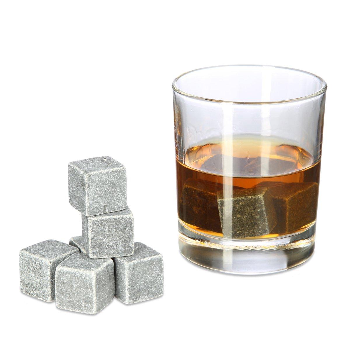 relaxdays Whiskey stenen - herbruikbare ijsblokjes - whiskeystenen in kistje - antraciet kopen