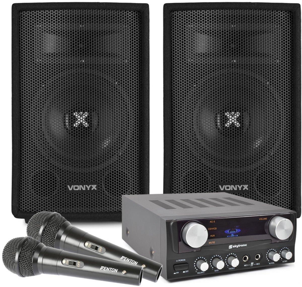 """""""Just Sing!"""" karaoke en zang set met 2 microfoons, versterker, speakers en kabels kopen"""