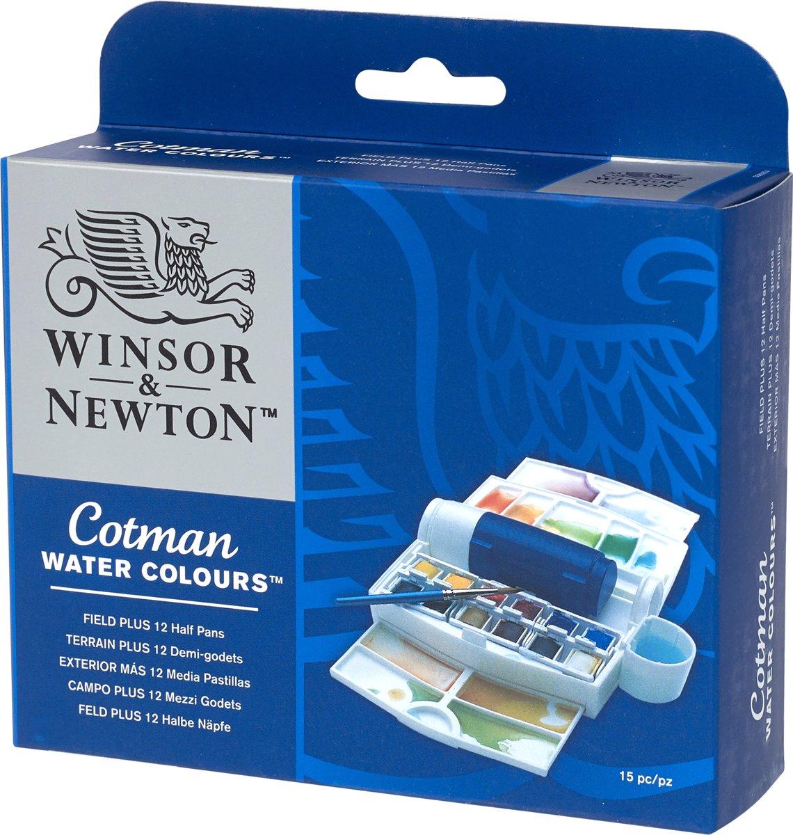 Winsor & Newton Cotman Aquarelverf Field Plus Set 12 halve napjes