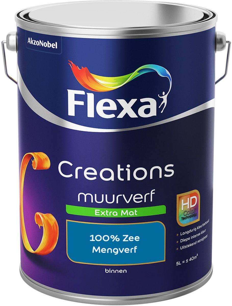 Flexa Creations Muurverf - Extra Mat - Mengkleuren Collectie - 100% Zee  - 5 liter
