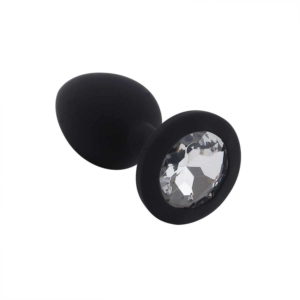 Foto van Banoch - Buttplug Penumbra White Small – Siliconen buttplug Zwart - Diamant steen - Wit