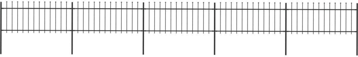 Tuinhek met speren bovenkant 8,5x0,8 m staal zwart (incl. Werkhandschoenen)