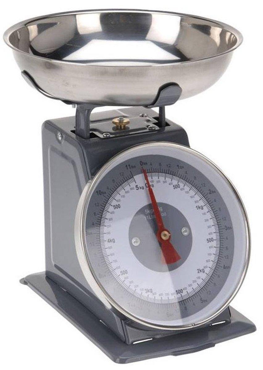 Retro Keukenweegschaal Grijs - 5 Kg