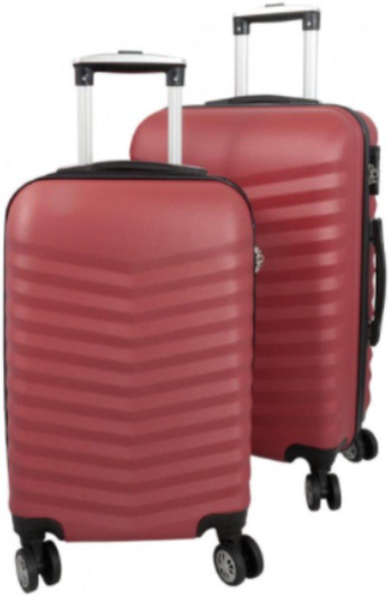 2 delig reiskoffer set Travelsuitcase rood met 3D structuur kopen