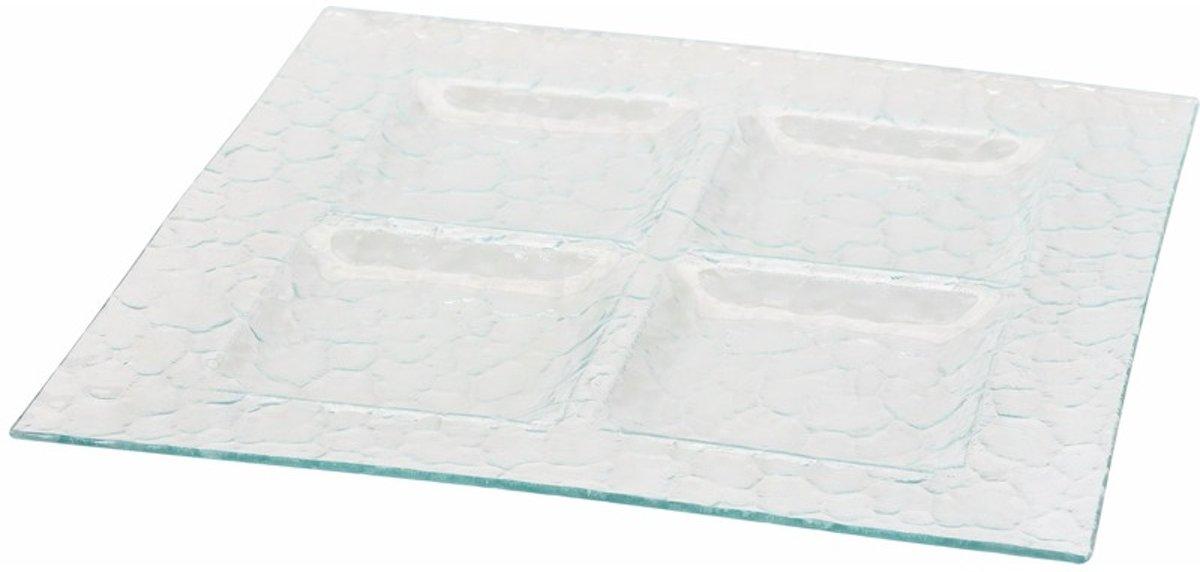 Serveerschaal glas met 4 vakken 37 cm kopen