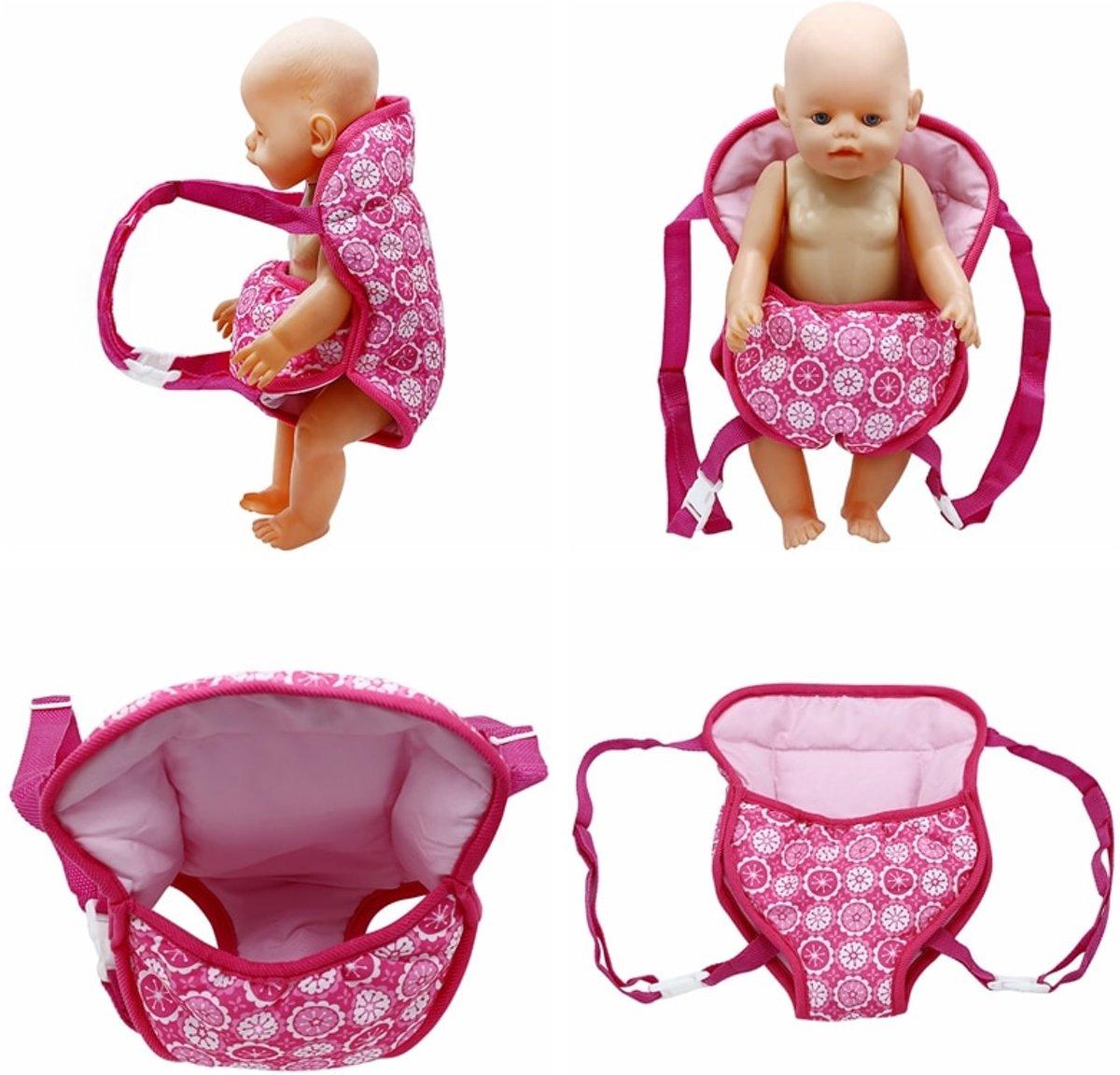 Poppendraagzak - Roze draagzak voor babypop of andere poppen tot 45 cm - geschikt voor kleuters