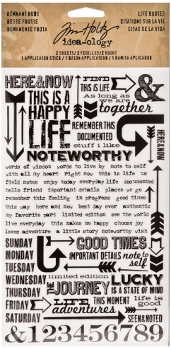 Afbeelding van product Idea-ology • Tim Holtz remnant rubs life quotes