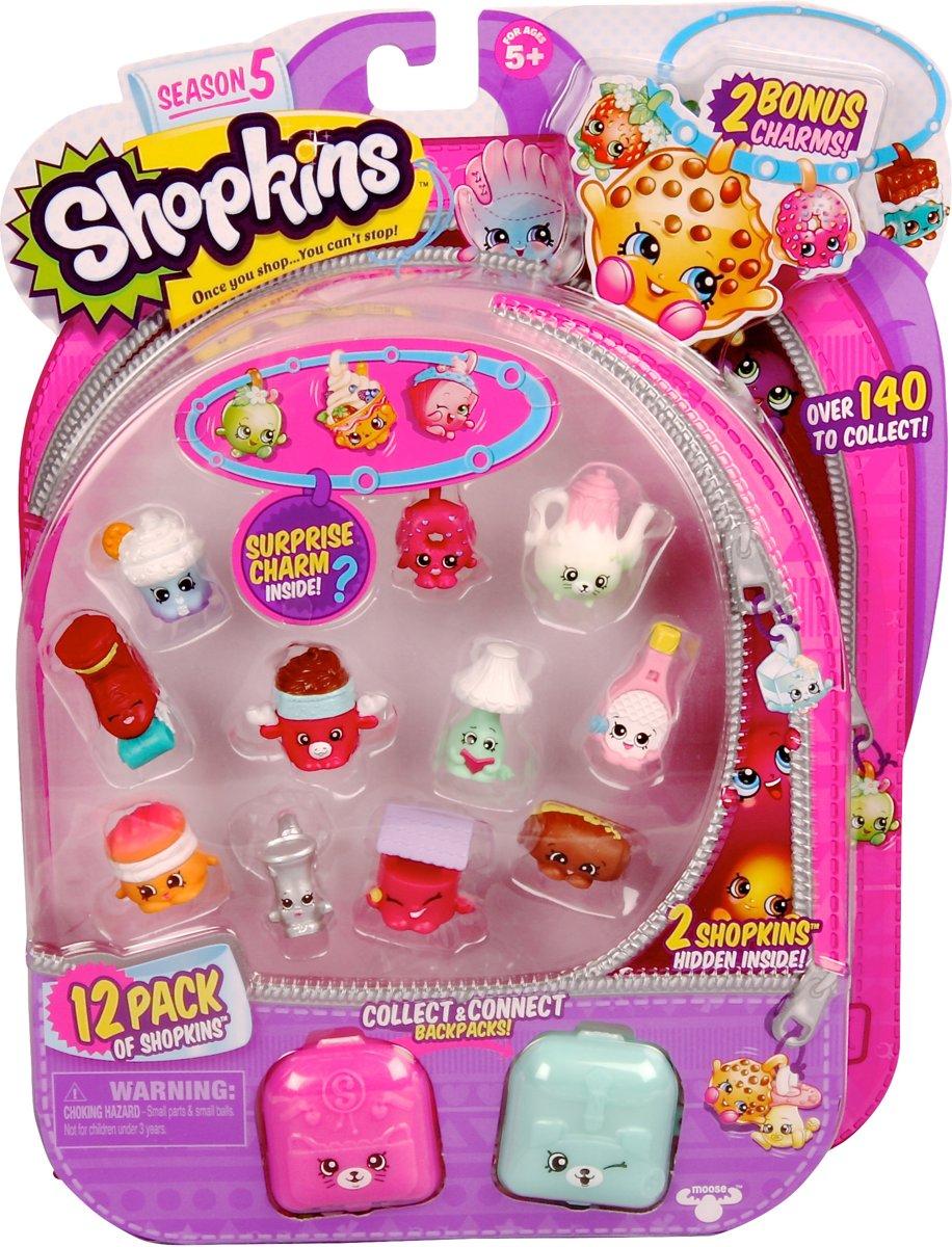 Shopkins - Reeks 5 - 12 pack, 12 speelfiguren + 2 rugzakken + 2 charms