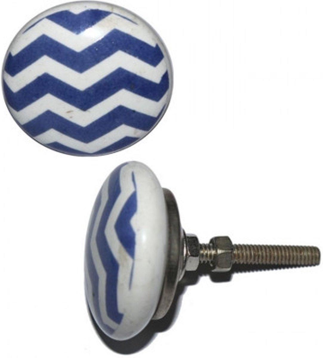 Afbeelding van product Deurknop keramiek wit met donkerblauwe schuin gestreept