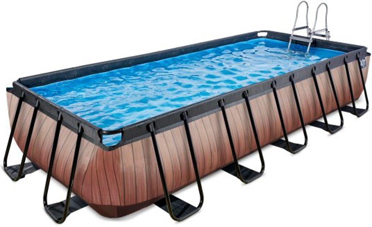 EXIT zwembad Wood 540x250cm met filterpomp - bruin