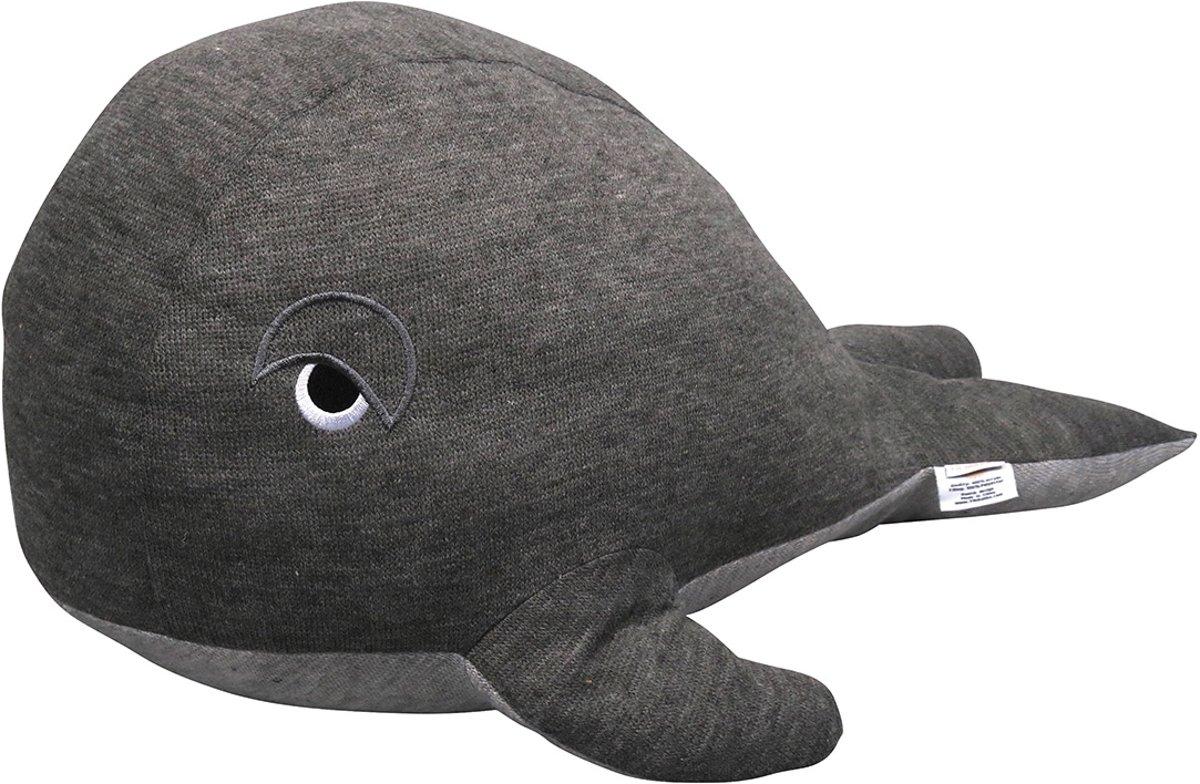 Filibabba - Knuffelspeelgoed - Walvis donkergrijs - 60cm