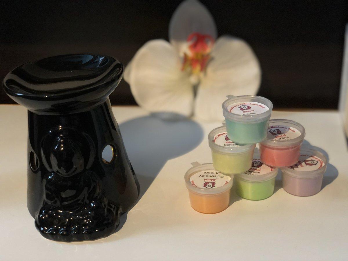 Wax Melts (parfum)geuren verrassingspakket met 10 geuren incl. DHHM | Aromabrander | Geurbrander | Boeddha | Zwart