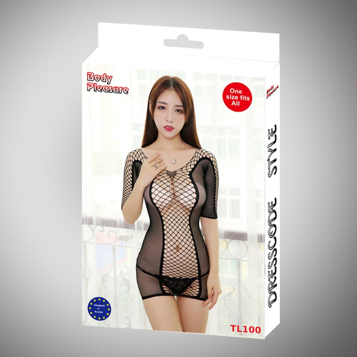 Foto van Body Pleasure - super strak en open jurkje - sexy lingerie set - uitdagende trendy bodystocking / jurkje - one size fits most - tl100 - verpakt in super gave body pleasure cadeaubox