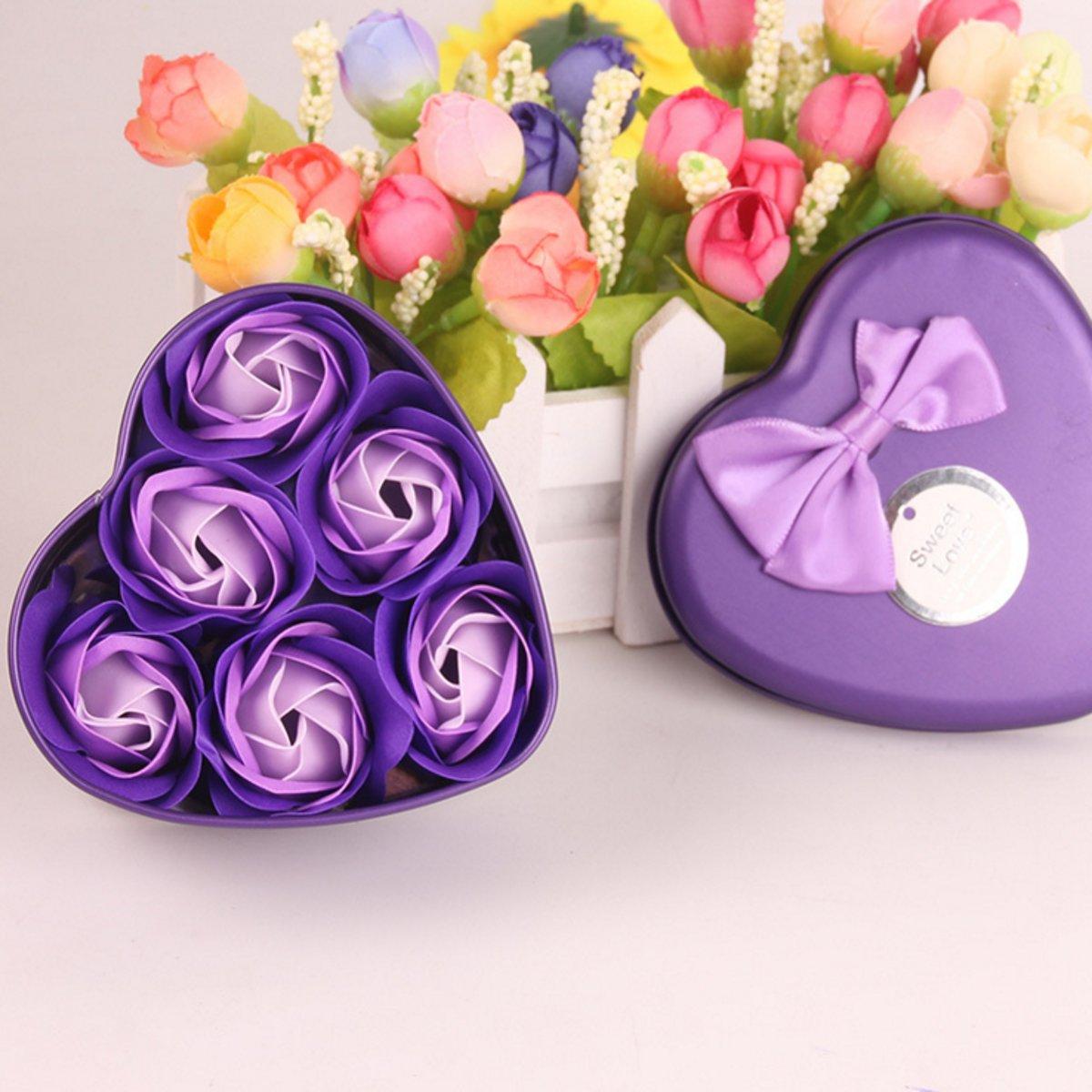 6 Rozen Zeepjes Blauw  in hartvormige verpakking | Origineel Cadeau voor haar, perfect cadeau voor valentijnsdag, verjaardagen kopen
