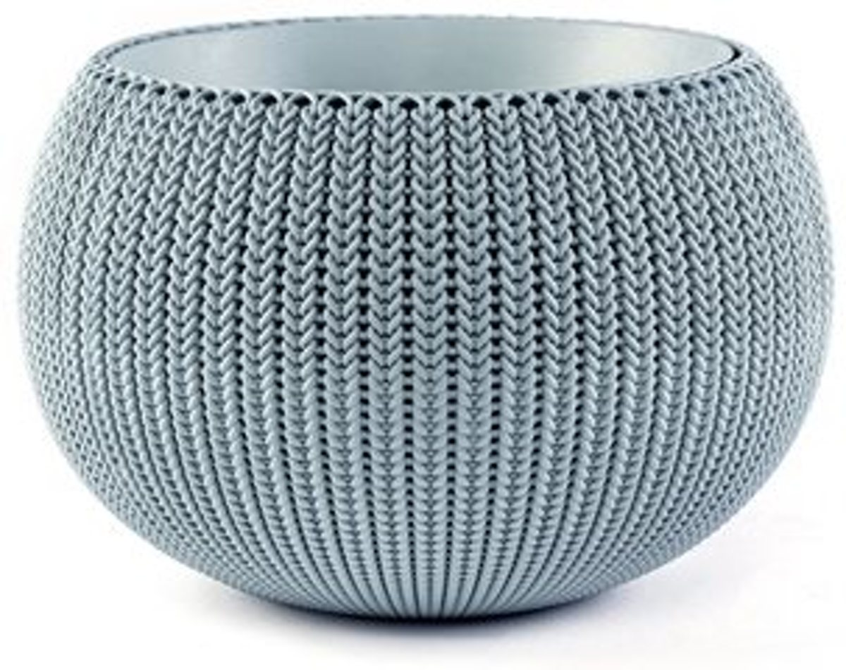 Curver Cozy Knit kunststof plantenbak - kleur lichtblauw - 36cm kopen