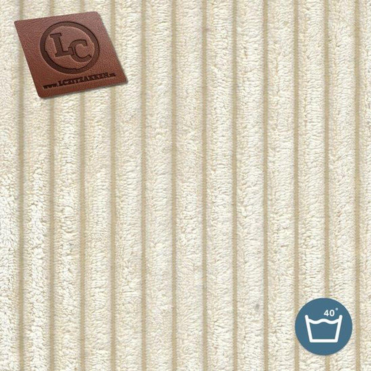 LC Zitzak hoes Ibiza M ribcord crème - Wasbaar - Zacht en comfortabel kopen