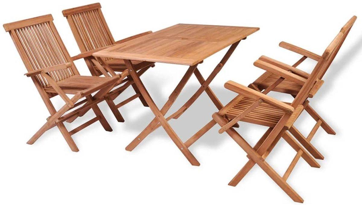 Tuinset met Tafel en 4 Stoelen Eettafel voor de Tuin Hout 5- delig massief teakhout kopen