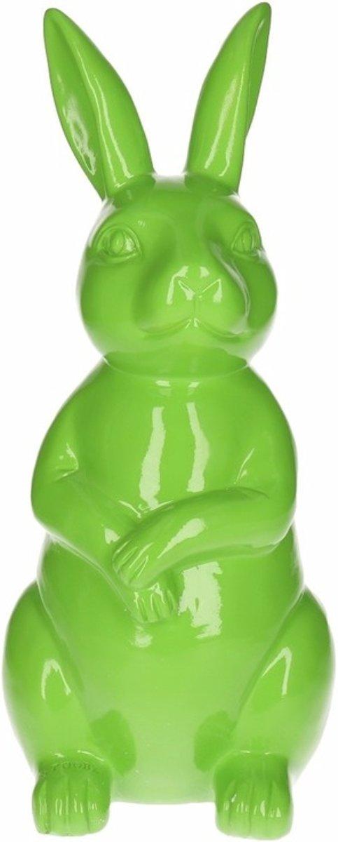 Dierenbeeld haas / konijn groen 30 cm - binnen en buiten
