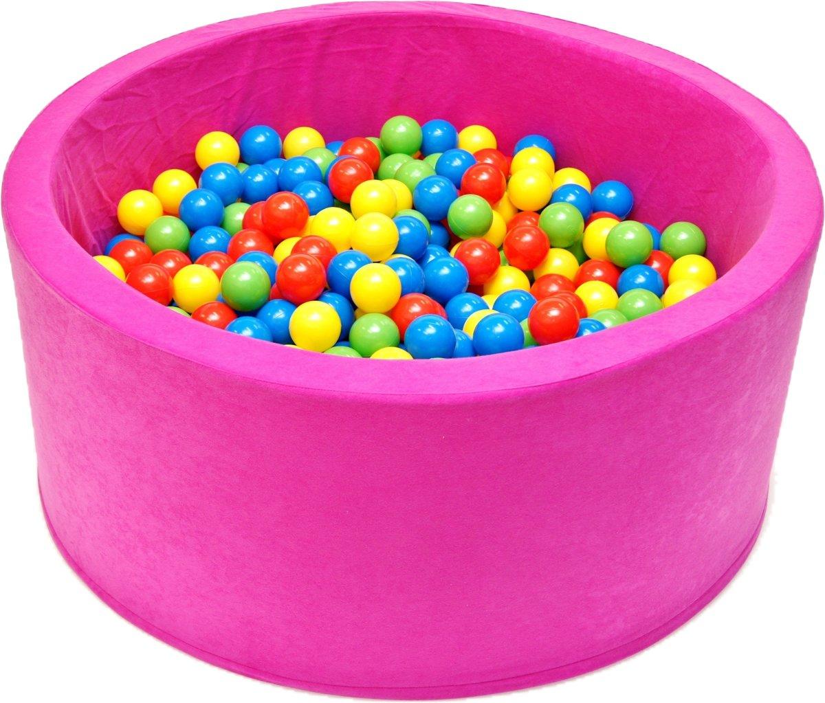 Ballenbak - stevige ballenbad - 90 x 40 cm - 200 ballen Ø 7 cm - geel, groen, rood en blauw