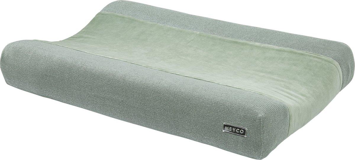Meyco Knit Basic Deluxe aankleedkussenhoes - stone green