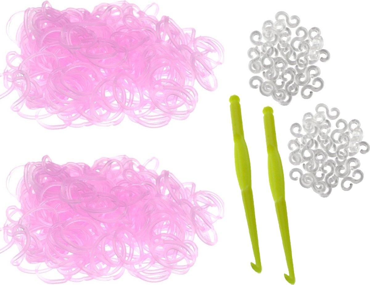 600 roze Glow in the Dark Loom Bands met 2 weefhaken en S-clips