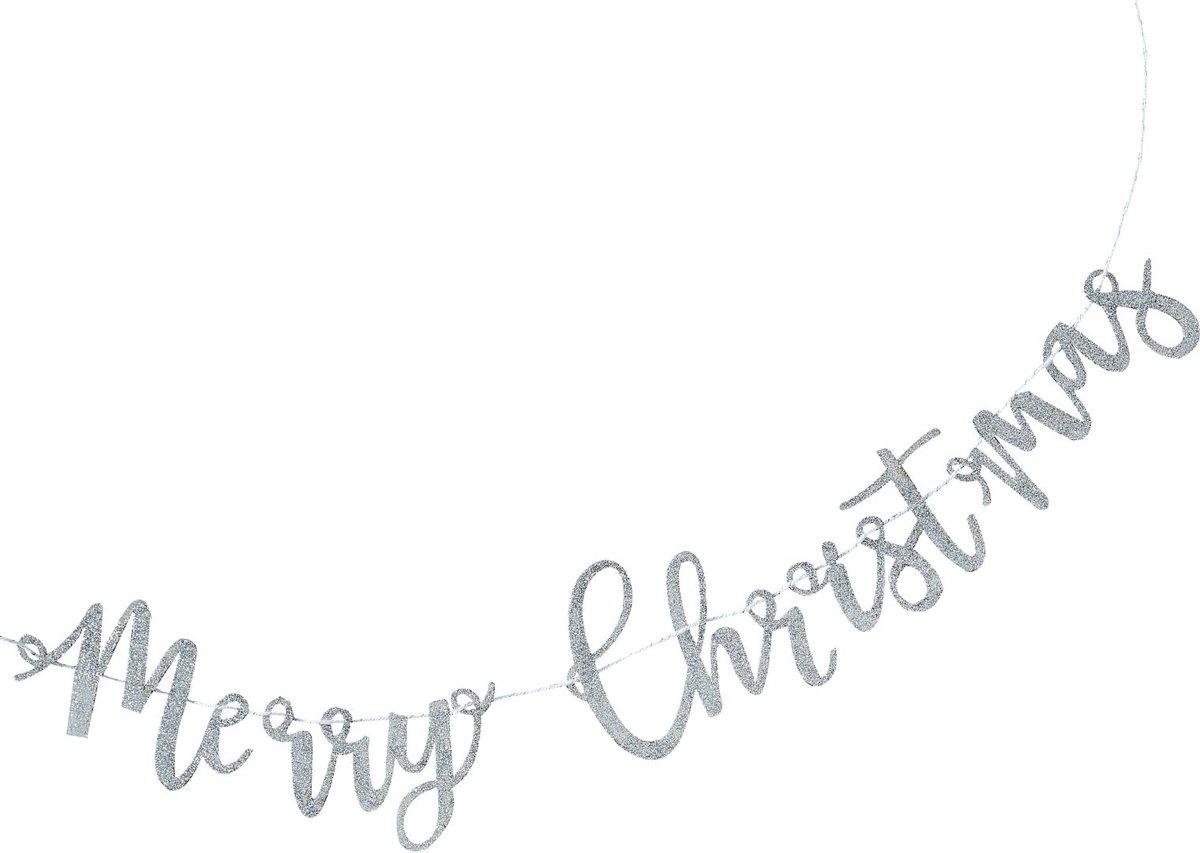 Merry Christmas slinger - zilver glitter (1 meter) kopen