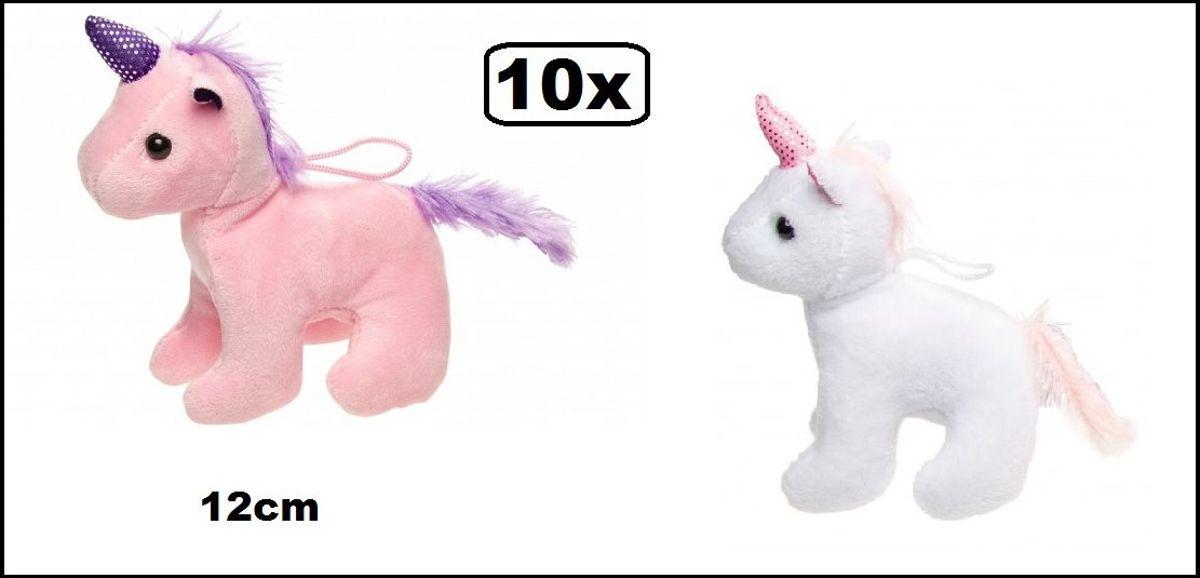 10x Knuffel Unicorn XS 12 cm roze/wit assortie