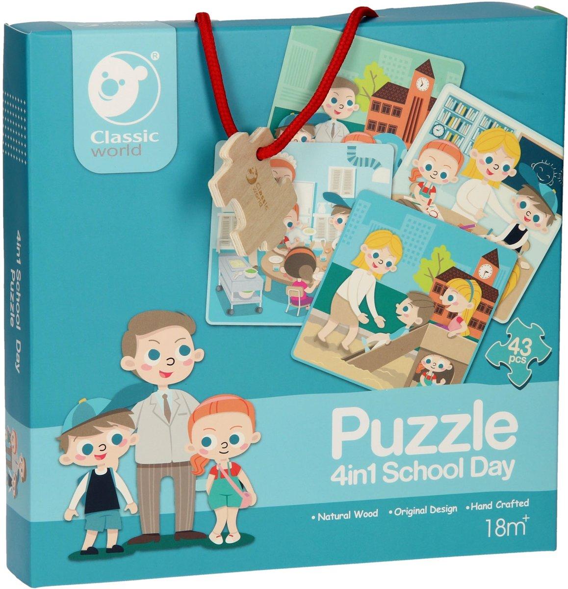 Classic World Houten Puzzel Op School, 4in1 kopen