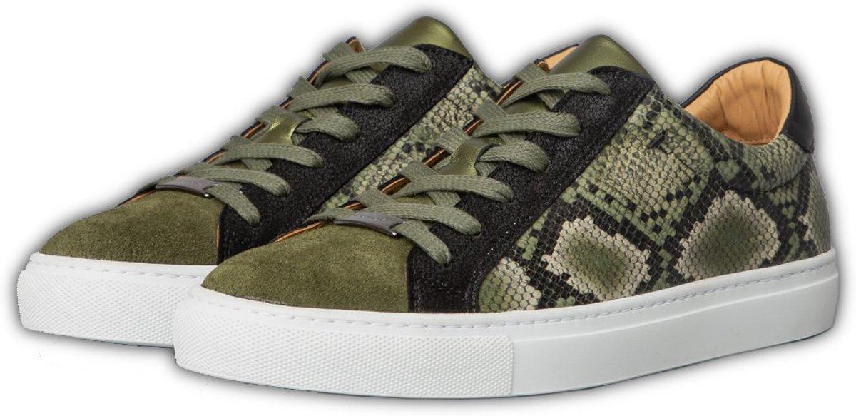 KUNOKA Alex 2.1a kaki snake Sneakers Dames Zwart Groen Slangenprint