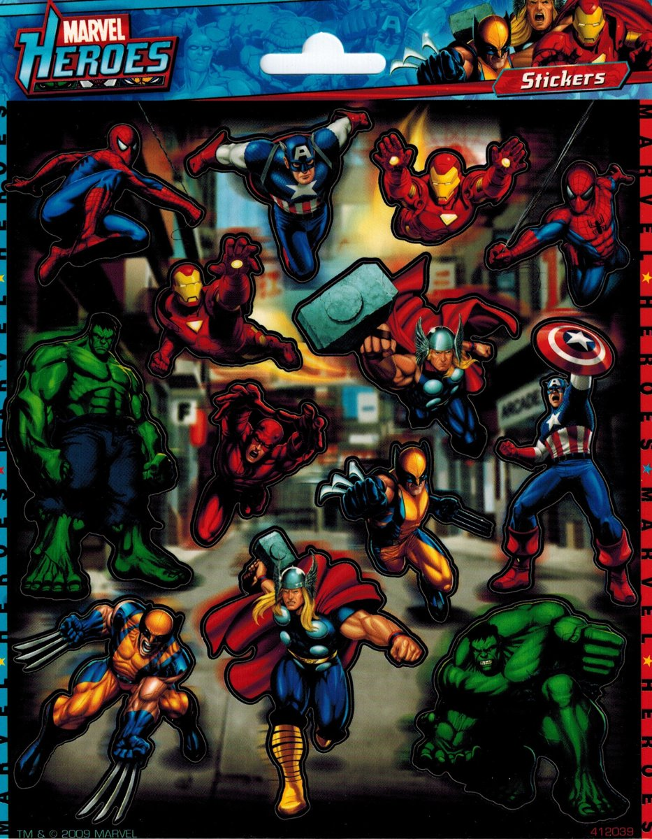 Marvel Heroes Stickers - Spiderman, Hulk