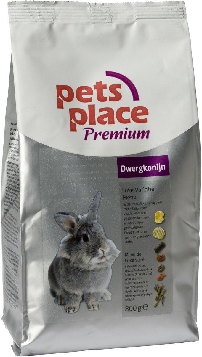 Pets Place Dwergkonijn Luxe Menu Premium - Konijnenvoer - 800 g