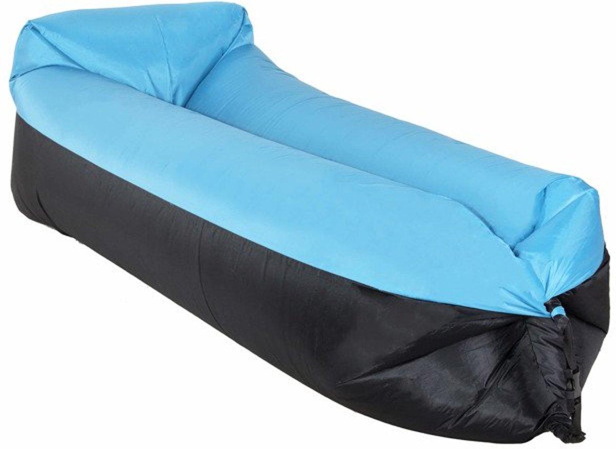 Zitzak Met Lucht.Lazy Bag Blauw Zwart Xl 185 X 75 Cm Tot 180 Kg Lucht