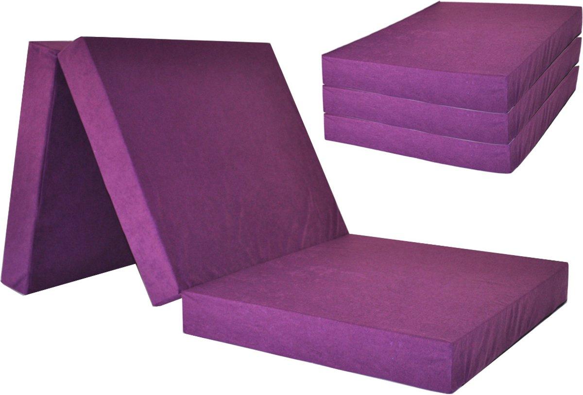 Logeermatras - violet - camping matras - reismatras - opvouwbaar matras - 195 x 80 x 10