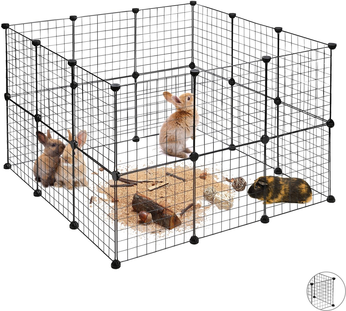 relaxdays konijnenren - uitloop kleine dieren - DIY buitenren - uitbreidbare ren knaagdier Pak van 24