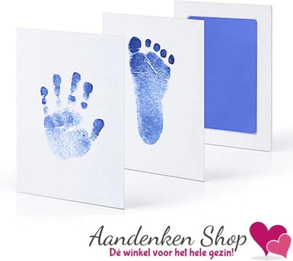 Baby Hand / Voet afdruk Stempel set Blauw - Kraamcadeau - Babyshower