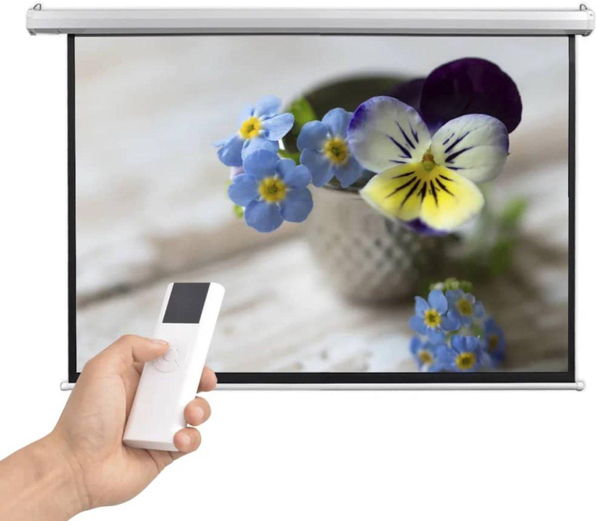vidaXL Projectiescherm met afstandsbediening elektrisch 160x90 cm 16:9 kopen