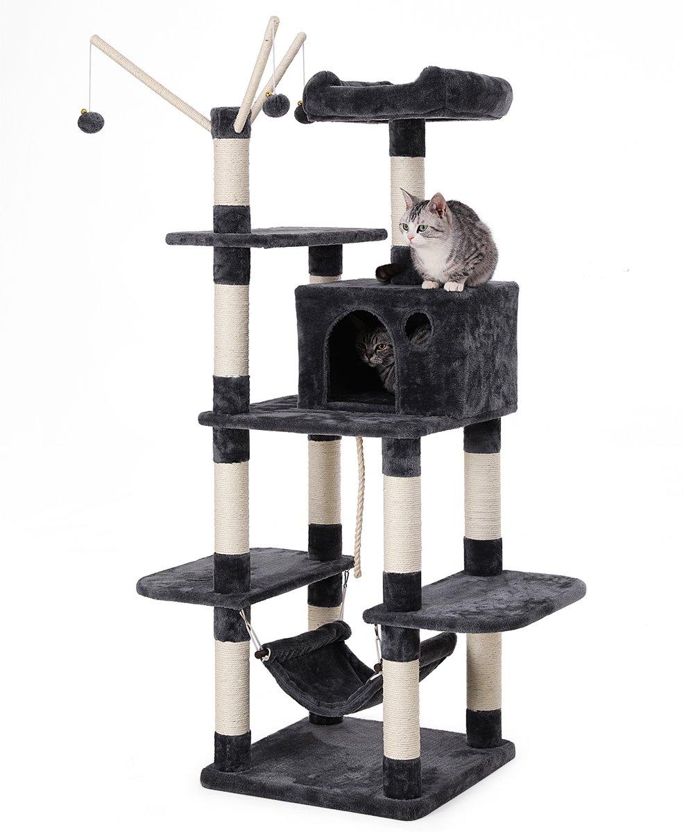 Design Hangmat Xxl.Songmics Xxl Luxe Katten Krappaal Katten Activity Center Met Een Hangmat Katten Klim Krappaal Hoogte 154 Cm Kleur Zwart Grijs