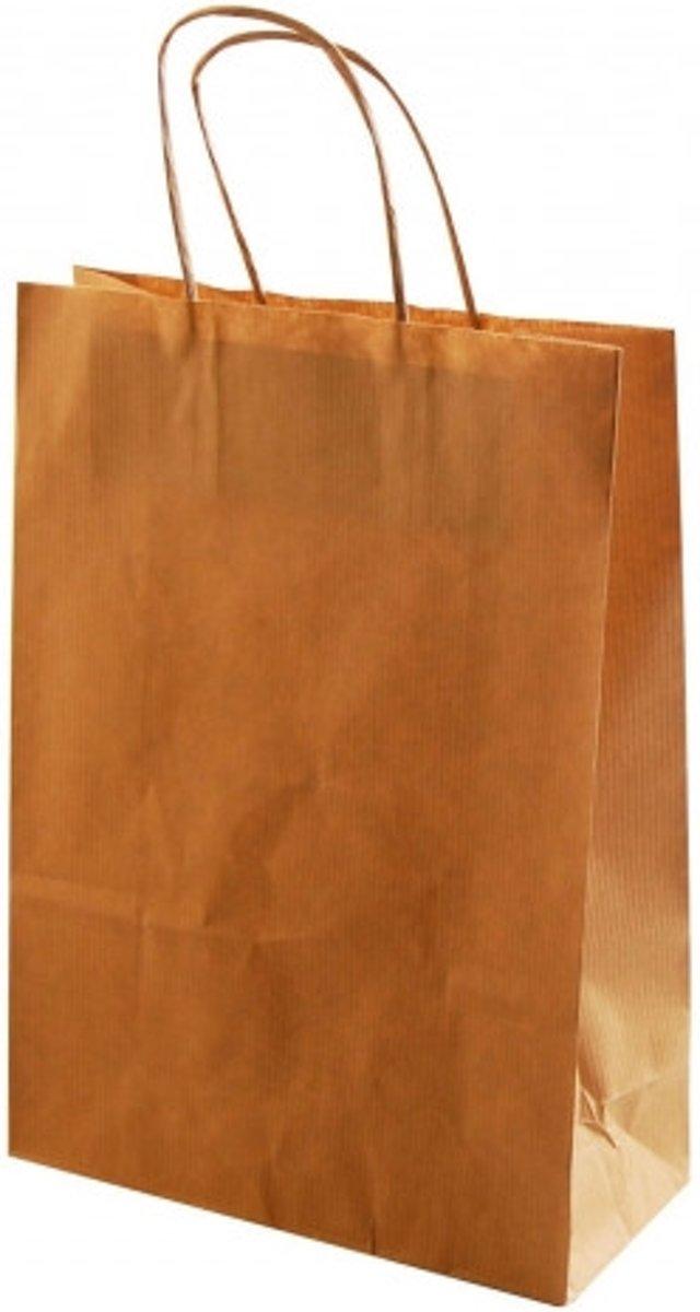 Afbeelding van product Tas papier naturel met koord x50 14x21x8cm