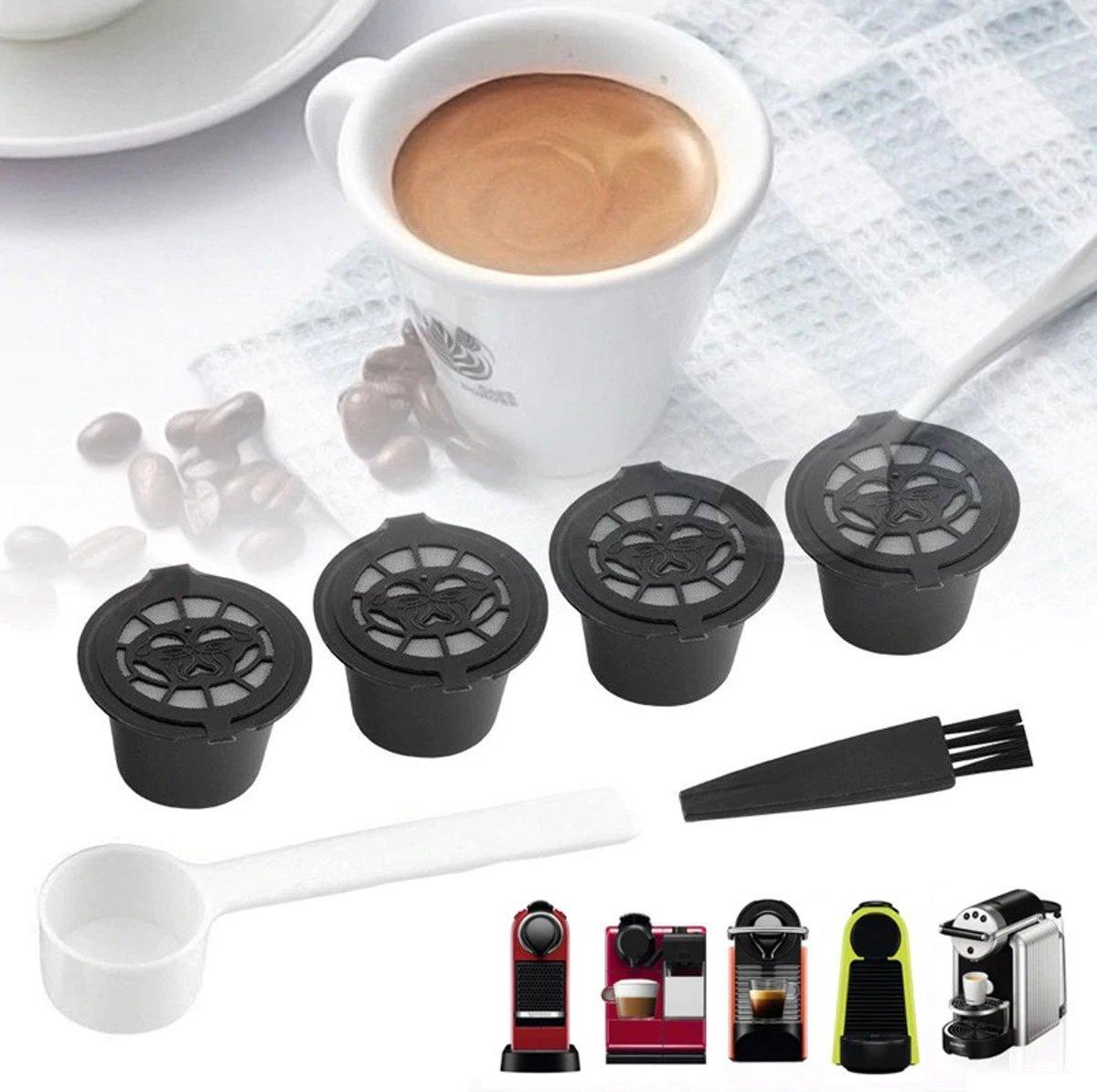 Hervulbare Koffie Cups Voor Nespresso - Koffiecups Capsule Pads - Herbruikbare Koffiecapsules Pads - Hervulbaar - Met Gratis Maatlepel - Duurzaam - Set Van 4 Stuks kopen