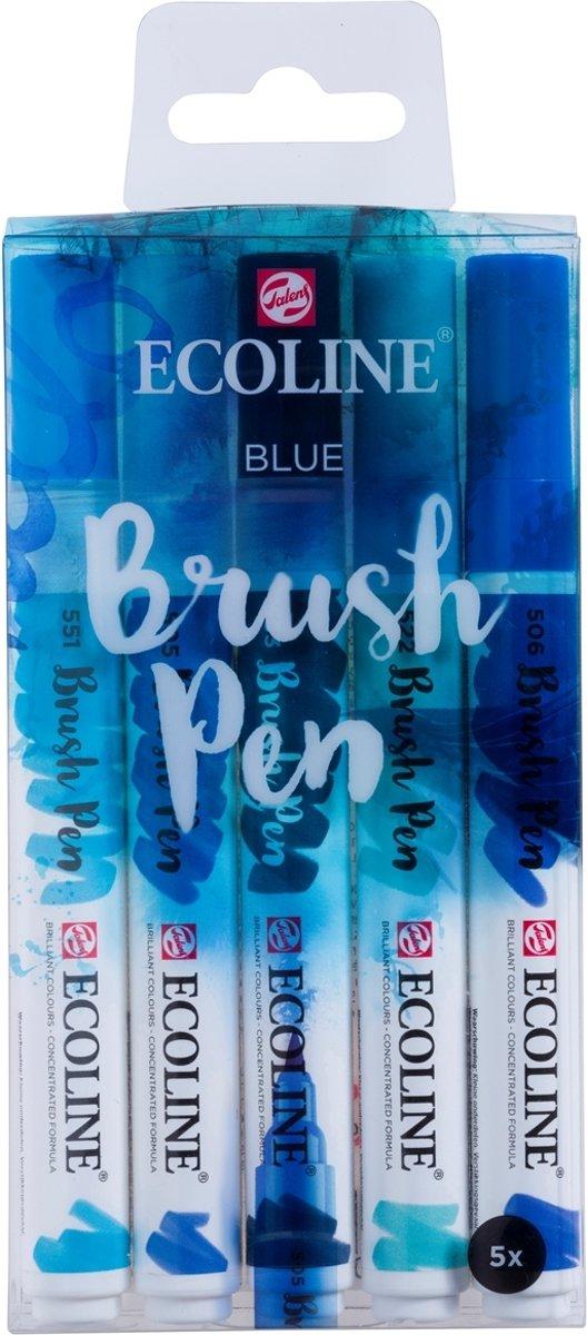 Talens Ecoline 5 brush pens Blue