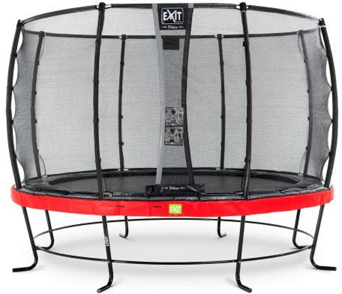 EXIT Elegant trampoline ø427cm met veiligheidsnet Deluxe - rood