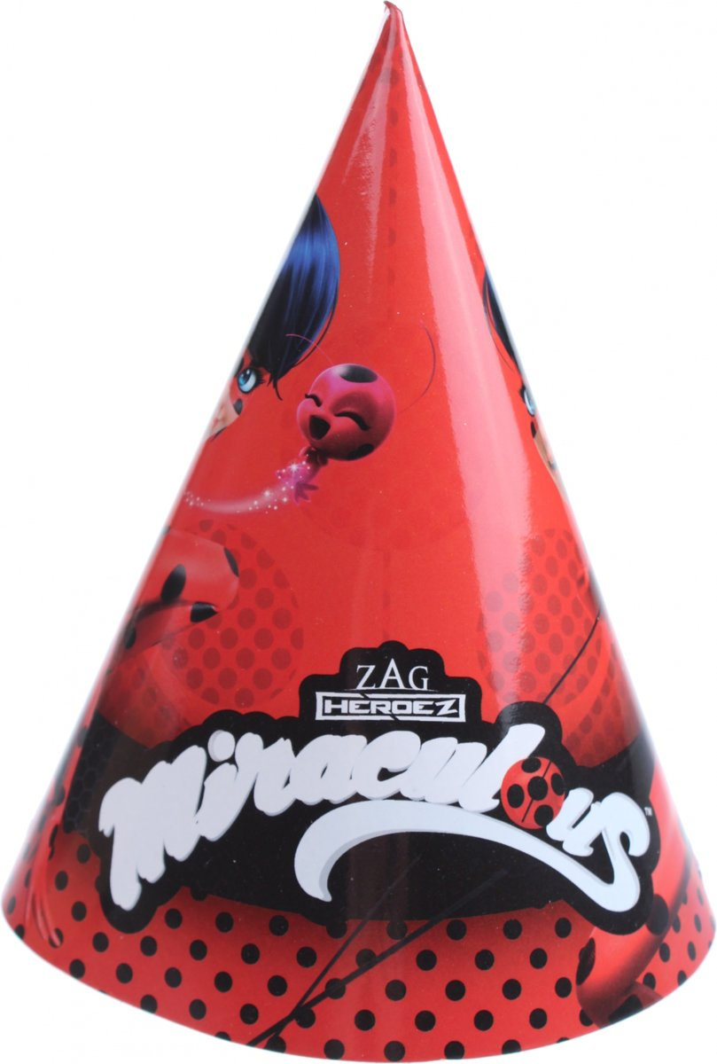 Miraculous Feesthoedjes Rood 6 Stuks