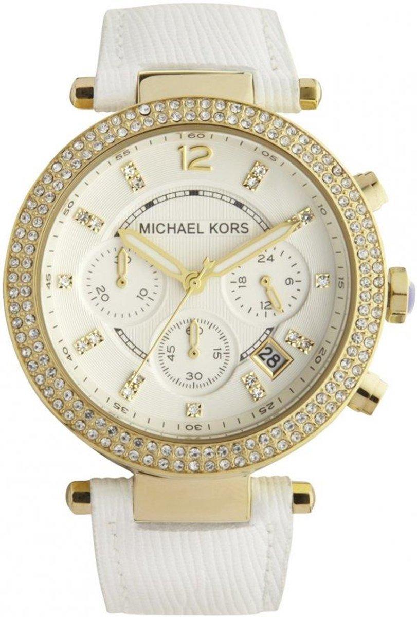 Michael Kors MK2290 Horloge Leer Wit 39 mm