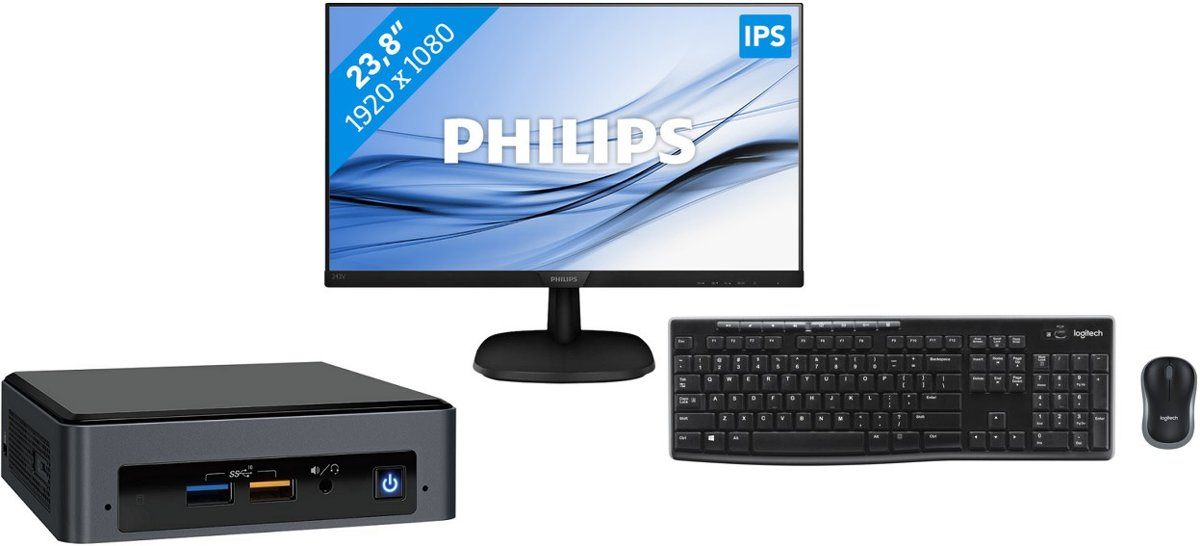 Intel NUC Kit NUC8i3BEK set inclusief monitor en toetsenbord kopen