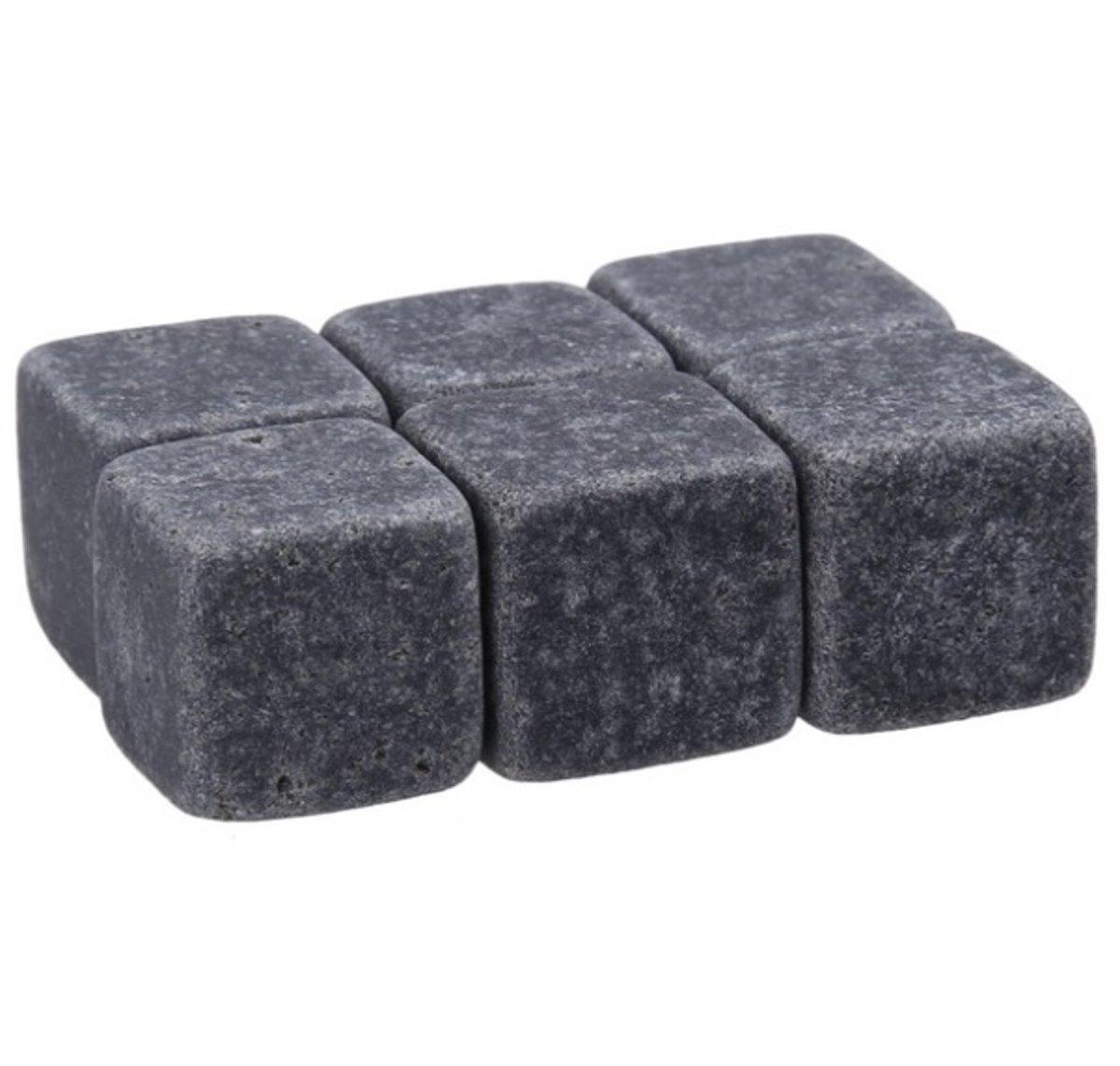 Set van zes whiskey stenen - Zwart - Met luxe cadeau verpakking kopen