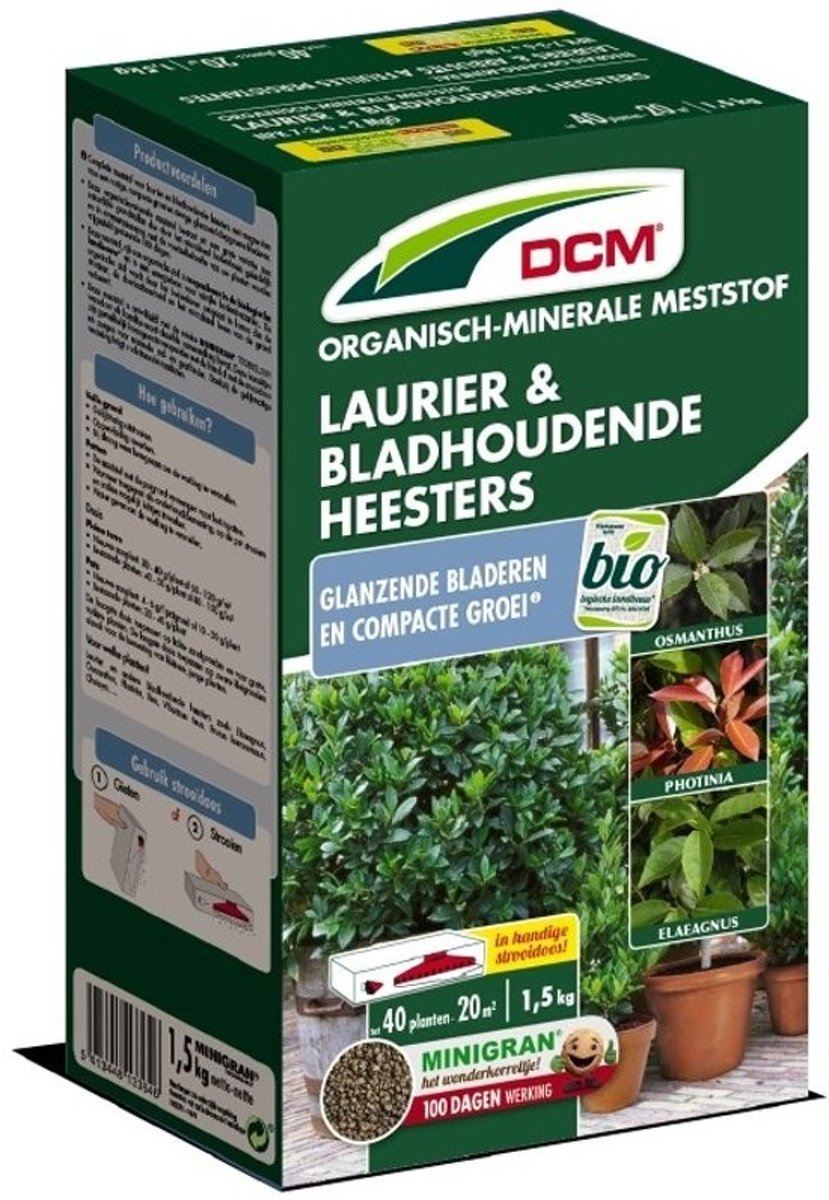 DCM meststof laurier en bladhoudende heesters - 1,5 kg - set van 2 stuks