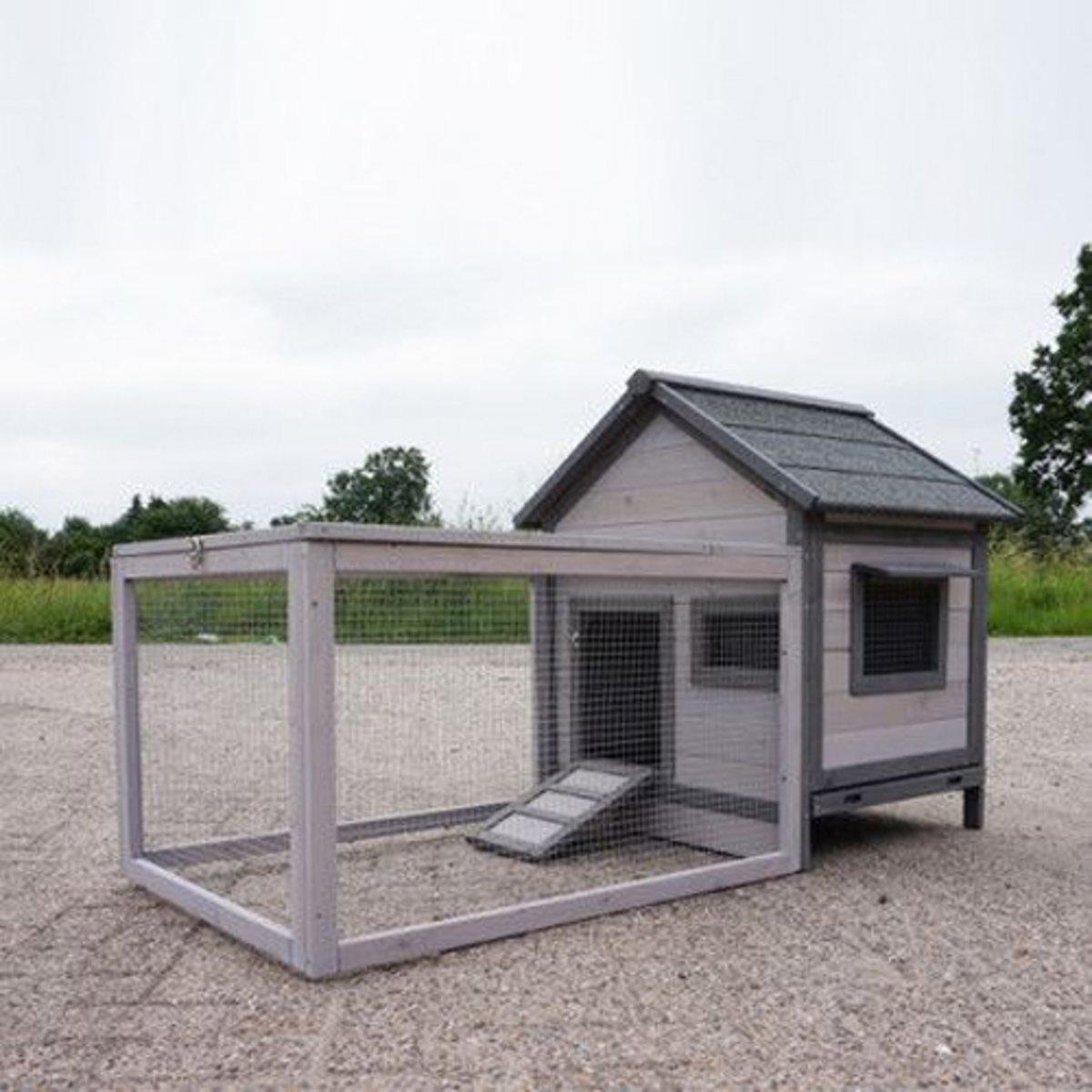 Petstar Konijnenhok Ava Cottage - 75 x 146 x 83 cm - Wit/Grijs